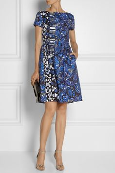 Oscar de la Renta|Printed cotton-blend poplin dress|NET-A-PORTER.COM