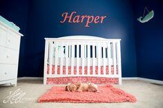 Navy and coral nursery . Coral Navy Nursery, Nursery Neutral, Nursery Themes, Nursery Decor, Nursery Ideas, Room Ideas, Future Baby, Girl Room, Baby Love