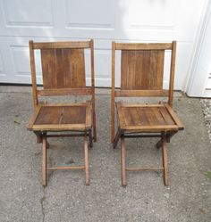 Dark Wood Folding Chairs With Slatted Seat by RobeyPlaceVintage