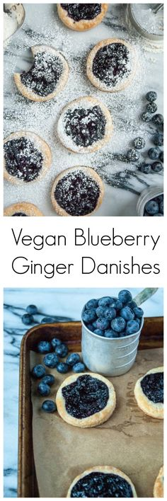 Vegan Blueberry Ginger Danishes that are just as good as the original, including the prettiest sweet blueberries and a kick of ginger! Homemade with yeast and berry jam.