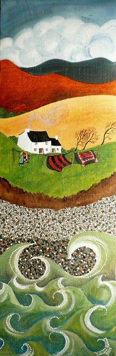 """Huile sur bois — Olew ar bren — Oil on wood  Il est assez rare, pour des raisons d'échelle, que je fasse des tableaux avec la mer, les galets et un personnage. En voilà cependant, un exemple. Les couvre-lits (ou quilts) représentés sont inspirés de la collection de Jen Jones. Le titre du tableau, choisi par mon ami, est des plus poétiques : les """"voiles du rêve""""...  ☁ Facebook : www.facebook.com/Valeriane.Leblond.Art.  ☂ Website : www.valeriane-leblond.eu  ✒ contact@valeriane-leblond.eu"""