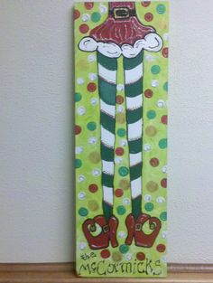 Christmas Elf Legs - acrylic on 10X30 canvas.  I transformed my Wicked Legs painting into an elf.
