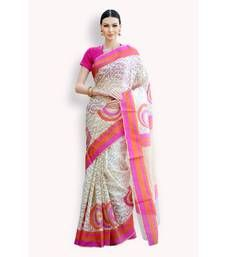 Buy Ivory woven organza saree with blouse organza-saree online