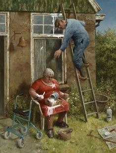 Giclée art reproduction Do it yourselfer by artist Marius van Dokkum. Art Revisited online store for Affordable paintings! Art cards, Art Calendars and Art books. Arte Banksy, Growing Old Together, Old Couples, Dutch Painters, Dutch Artists, Oldies But Goodies, Naive Art, Funny Art, Belle Photo