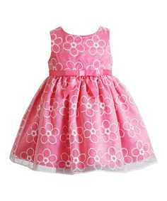 Look at this #zulilyfind! Coral Embroidered Floral Organza Dress - Toddler & Girls by Youngland #zulilyfinds