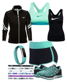 """""""Running In Teal"""" by kitty-dragon-w on Polyvore featuring Fitbit, NIKE, Daily Sports and Zoot Sports"""