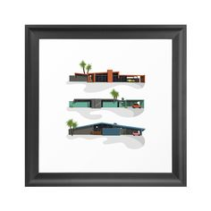 Get a cool mid-century vibe with this colorful study of retro So-Cal style homes. It's a fun accent for the wall, whether you've a mid-century space of your own, or just an appreciation of palm trees a...  Find the Swanky Houses Art Print, as seen in the Timeless Mid-Century Ranch Collection at http://dotandbo.com/collections/timeless-mid-century-ranch?utm_source=pinterest&utm_medium=organic&db_sku=104256
