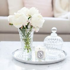 Floral with crystal candy bowl on tray