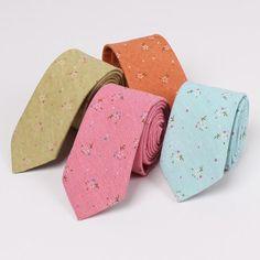 New Design 100% Cotton Ties For Men Vintage Printed Floral Gravatas Slim Corbatas Suit Vestidos Necktie Party Skinny Ties