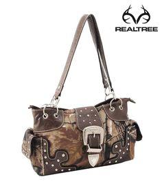 Realtreecamo Satchel Bag With Studetal Detail Buckle Camo Guns Stuff Pink