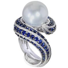 Blue Sapphire Pearl Gold Textured Ring Limited Edition Handmade in NYC