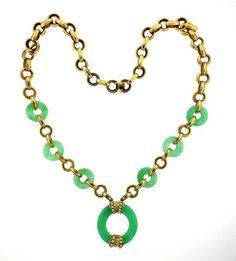 18K Gold Gem Diamond Link Necklace