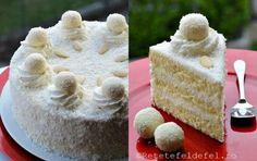 TORT RAFFAELLO | Rețete Fel de Fel Krispie Treats, Rice Krispies, Vanilla Cake, Caramel, Sweets, Cheese, Cookies, Healthy, Desserts
