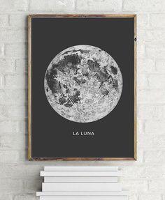 Astronomy Art Poster La Luna Moon
