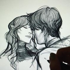 Feyre and Rhys [art by Charlie Bowater]