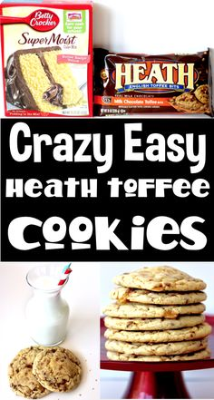 Cookies Made from Cake Mix with Heath Toffee Bits! These soft and delicious Heath Toffee Cookies are such a cinch to make. Just 4 easy ingredients, and you're done! Go grab the recipe and give them a try this week! Heath Cookies Recipe, Cake Mix Cookie Recipes, Delicious Cookie Recipes, Cake Mix Cookies, Best Cookie Recipes, Yummy Cookies, Baking Recipes, Dessert Recipes, 4 Ingredient Desserts