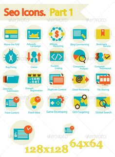 SEO Icons Set Part 1 — Photoshop PSD #coding #marketing • Available here → https://graphicriver.net/item/seo-icons-set-part-1/6488100?ref=pxcr