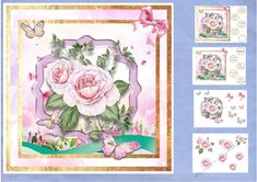 Beautiful pale pink roses sit in a scenic vista, with rolling hills and pink clouds. Butterflies float by. 6 sheets in this mini kit including inserts. Pale Pink, Pink Roses, Pink Flowers, Wine Vine, Pink Clouds, Flower Basket, Birthday Balloons, Happy Anniversary