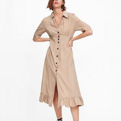 76d376710b0e Long Ruffles Split Button Sexy V-Neck Khaki Shirt Dress –  casual   fashiondresses