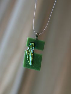 Contemporary green tack fused pendant with by ATCreativeGlass, $45.00