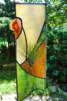 Jungle Green Stained Glass Air Plant Panel by miloglass on Etsy, $45.00