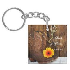 Cowboy Boots, Daisy Horse Bit Country Wedding Keychain