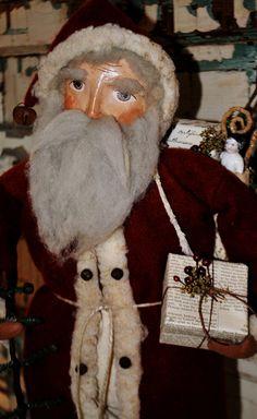 Primitive Folk Art Olde World Santa  ...The Gift Giver. , via Etsy.