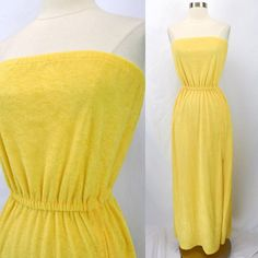 2aaad5da57155 Vintage 80s Yellow Terrycloth Maxi Dress, Beach Coverup JACK HARTLEY Zipper  M #JackHartley #
