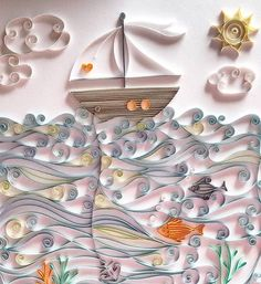 Quilled Fishing Ship - by: Cristiana Raulino