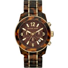 Women's Michael Kors Mid-Size Tortoise Acetate Chronograph Watch found on Polyvore