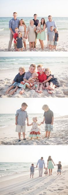 Inspiring colors for your next family photo.  Navy blue, mint, coral, creams.  Don't be afraid of color.  Check out more from this family photo session in Panama City Beach FL