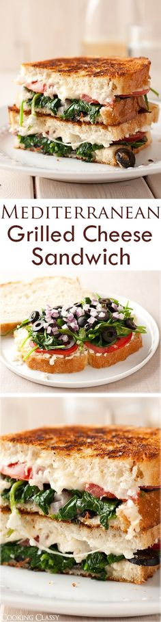Mediterranean Grilled Cheese - Feta, mozzarella, tomatoes, spinach, basil, garlic, red onion and olives! Seriously delicious!