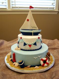 Nautical theme cake . . .I would want this shower and nursery theme for my baby boy