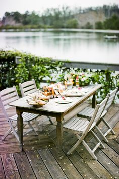 lakeside dinner party. Santa Barbara Photographer, Nancy Neil's home...great idea for an outdoor table