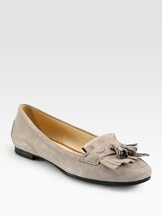 Suede Fringe Moccasin Loafers by Tod's