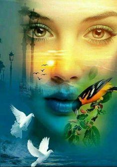 Dark Fantasy Art, Dream Fantasy, Double Exposition, Double Exposure Photography, Poster Art, Fantasy Paintings, Illusion Art, Beautiful Gif, Eye Art