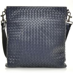 Fashionphile - BOTTEGA VENETA Nappa Intrecciato Messenger Bag Navy Blue