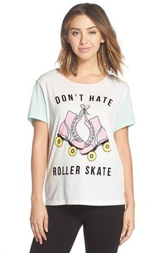 """Free shipping and returns on MINKPINK 'Roller Derby' Cotton Tee at Nordstrom.com. This soft graphic tee breaks it down to life's simple pleasures with the peaceful thought, """"Don't hate, roller skate,"""" to help you wind down after a long day."""