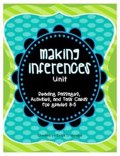 This 60+ page Making Inferences unit focuses on identifying learning goals with students, teaching them how to develop strategies for becoming more effective readers, and then providing activities for them to practice these strategies in various ways.