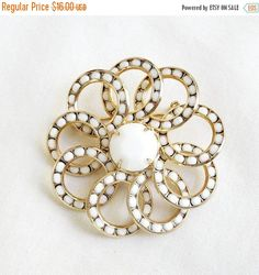 ❘❘❙❙❚❚ Spring Sale ❚❚❙❙❘❘   This is a great looking White Milk Glass Rhinestones Circles Brooch Vintage!  This pin is much prettier than my pictures – great in person piece... #vintage #jewelry #fashion