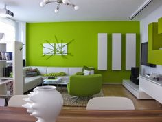 unique living room ideas using plural motifs with minimalist design of ceiling white with design of the bookcase on the wall with modern white sofas and elegant table Living Room Green, Paint Colors For Living Room, Paint Colors For Home, Living Room Decor, Green Bedroom Colors, Green Accent Walls, Room Interior, Interior Design, Green Furniture