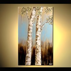 textured painting two birch trees vertical