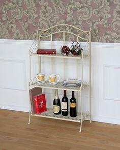 何を飾るか楽しくなるアイボリー色のアイアン3段シェルフ:輸入家具、イタリア家具の通販:アピタス