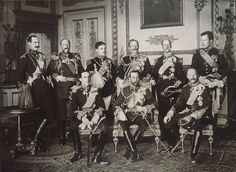 """NINE KINGS at Buckingham Palace: A fortnight earlier, on May 6, 1910, the 68-year-old King Edward VII had died after a nine-year reign. Known invariably as Edward the Caresser or Edward the Peacemaker, he had been """"Uncle of Europe..."""