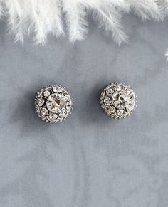 Vintage Style Button Earrings, Bridal Stud Earrings, Wedding Earring Studs, Rhinestone Button Earrings, 1920s Button Earrings - 'ELITA' on Etsy, $32.00