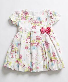Vestido Floral Branco e PinkFoto 0 Baby Frock Pattern, Frock Patterns, Frocks For Girls, Little Girl Dresses, Girls Dresses, Toddler Dress Patterns, Girl Dress Patterns, Dress Anak, Boutique Dresses