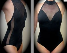 Black high neck halter with black mesh front insert and side stripes.