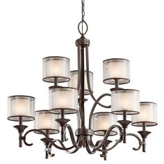 Kitchler - Lacey Collection - Dining Room Chandelier in Mission Bronze - Group 8