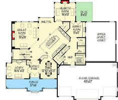 Plan Big Daddy Sport Court House Plani like the two separate staircases Dream House Plans, House Floor Plans, Architectural Design House Plans, Architecture Design, Open Family Room, Large Family Rooms, Open Layout, Walk In Pantry, Workout Rooms