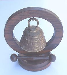 Vintage Brass Sanctuary Bell with Wooden Stand